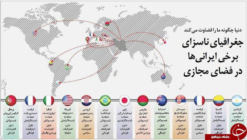 کاربران ایرانی به صفحات چه کسانی در فضای مجاری حمله می کنند+اینفوگرافی