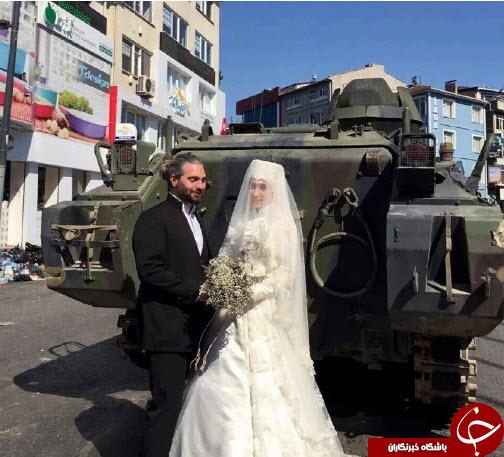 عکس یادگاری عروس و داماد با تانک های ترکیه