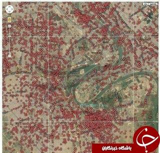 نقشۀ مکانهای انفجار بمب در بغداد
