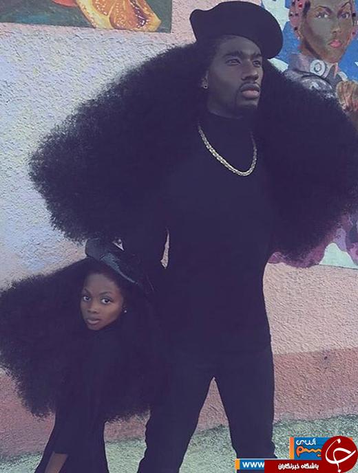 عکس/ پدر و دختری که بخاطر موهایشان مشهور شدند!