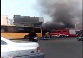 باشگاه خبرنگاران - آتش سوزی اتوبوس مسافربری در میدان جمهوری + فیلم