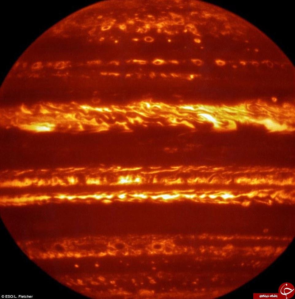 سیاره مشتری در آتش+تصاویر