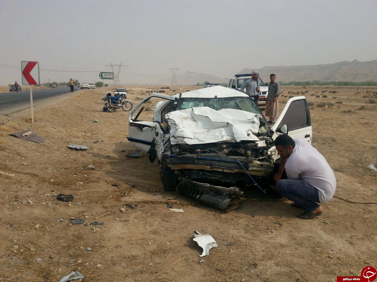 تصادف مرگبار سمند با پرشیا در جاده امیدیه