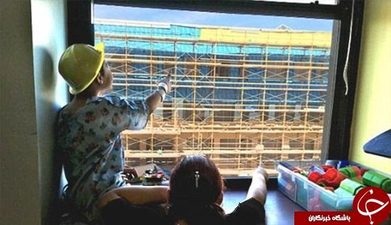 ابتکار جالب کارگر ساختمانی برای شاد کردن کودکان بیمار +تصاویر
