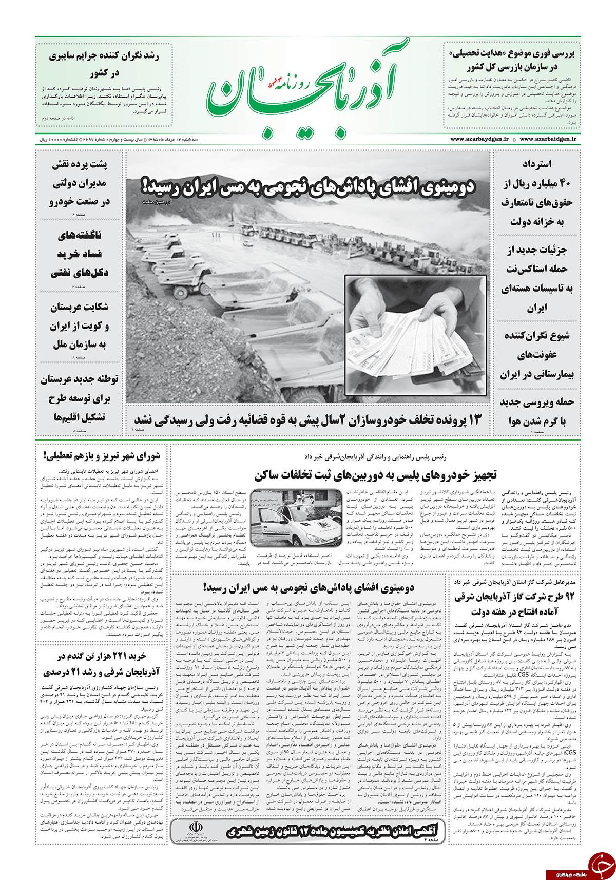 صفحه نخست روزنامه استانآذربایجان شرقی 3 شنبه 12مرداد ماه
