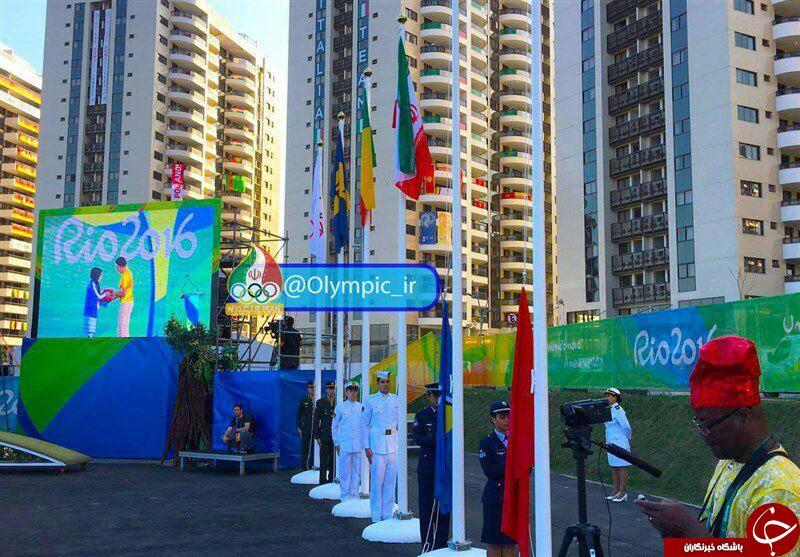 اهتزاز پرچم ایران در دهکده بازی های المپیک + عکس