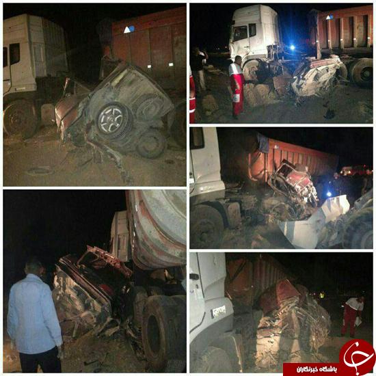 برخورد هولناک تريلر و پژو 405 در جاده شهر رضا/ یک خانواده 6 نفره در دم جان باختند