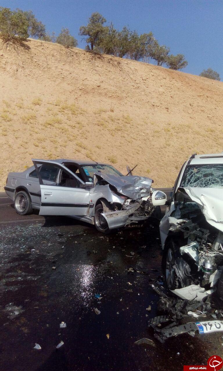 تصادف هولناک دو دستگاه خودروی سواری در لردگان + تصاویر