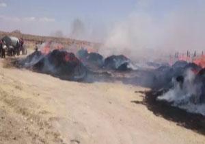 خرمن محصولات کشاورزی روستای پیرتاج در آتش سوخت + فیلم