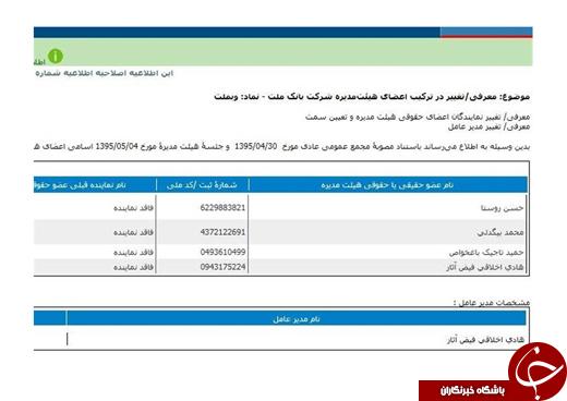 هیات مدیره بانک ملت مصوبه ۴ مرداد را اصلاح کرد/نام رستگار از هیات مدیره خط خورد +سند