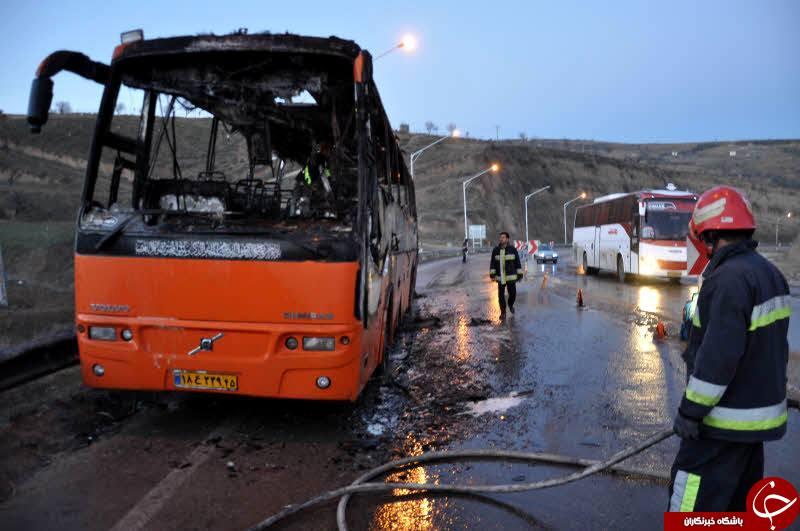 حریق اتوبوس ولوو با 40 مسافر در قم + جزئیات