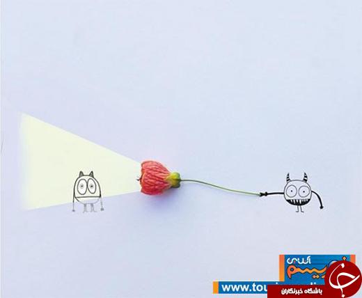 عکس/ تصویرسازی سه بعدی با گل