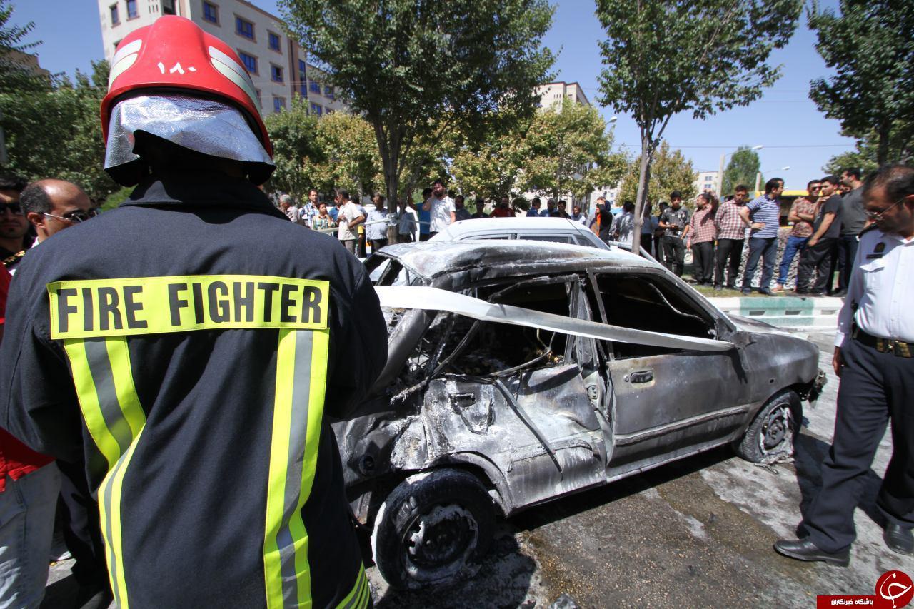 برخورد آتشین دو پراید با اتوبوس/ دو نوجوان در شعلههای آتش جان باختند + فیلم و تصاویر
