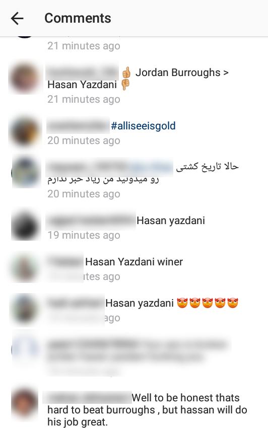 کلکل طرفداران حسن یزدانی در اینستاگرام جردن باروز +کامنتها