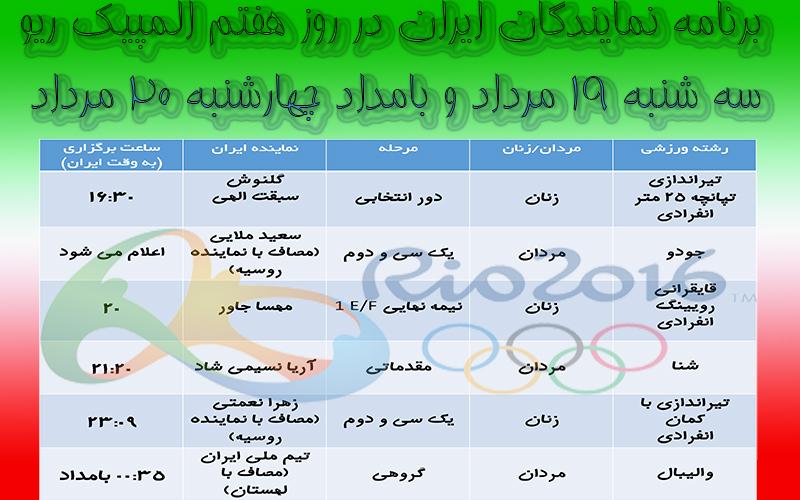 برنامه روز هفتم مسابقات المپیک ریو