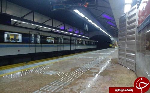 ریزش آب از سقف مترو قلهک/نیروهای امدادی در محل حضور دارند
