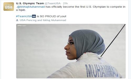 تحسین کمیته المپیک آمریکا از حجاب بانوی مسلمان