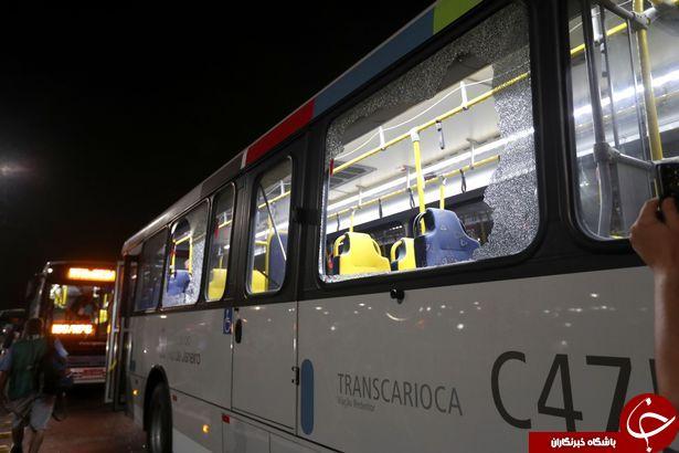 تیراندازی مجدد به اتوبوس حامل خبرنگاران المپیک +تصاویر