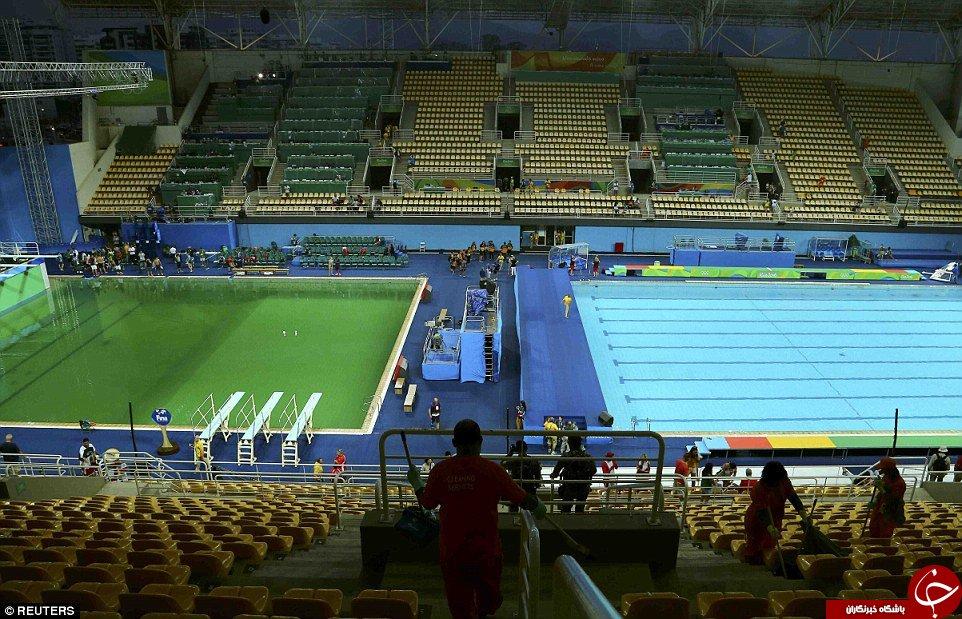 آب دومین استخر مسابقات المپیک هم سبز شد +تصاویر