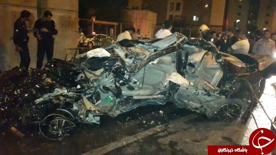 برخورد مرگبار بسترن با ستونهای سیمانی اتوبان بابایی/ 3 سرنشین خودرو در دم جان باختند