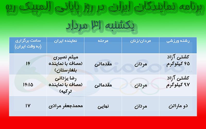 برنامه مسابقات ورزشکاران ایرانی در روز پایانی المپیک