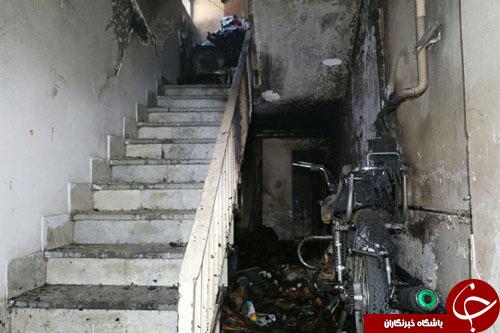 تعمیر موتورسیکلت در ساختمان مسکونی آتش به پا کرد+تصاویر