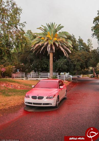 آسمان نارنجی و باران صورتی در لس آنجلس +تصاویر