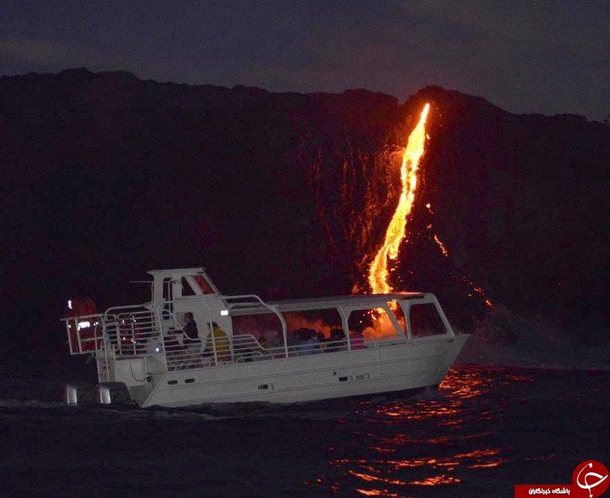 تماشاییترین صحنههای تقابل گدازههای گداخته آتشفشانی با اقیانوس+تصاویر