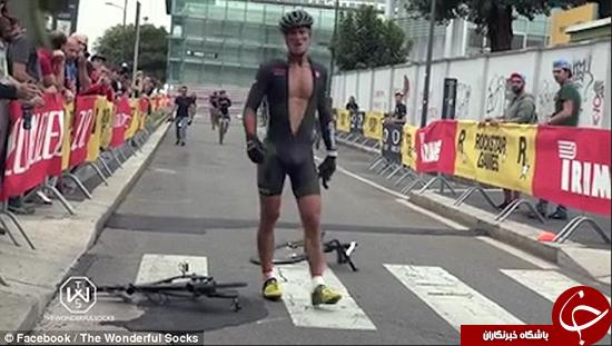 دوچرخهسوار بیجنبه دوچرخهاش را شکست +تصاویر