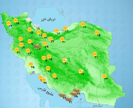 احتمال رگبار موقتی باران در برخی نقاط کشور +جدول