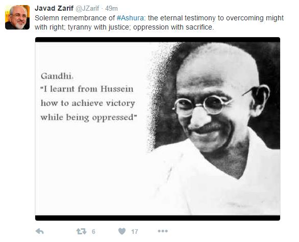 محمد جواد ظریف در توییتر از امام حسین ع نوشت///نمایه ندارد