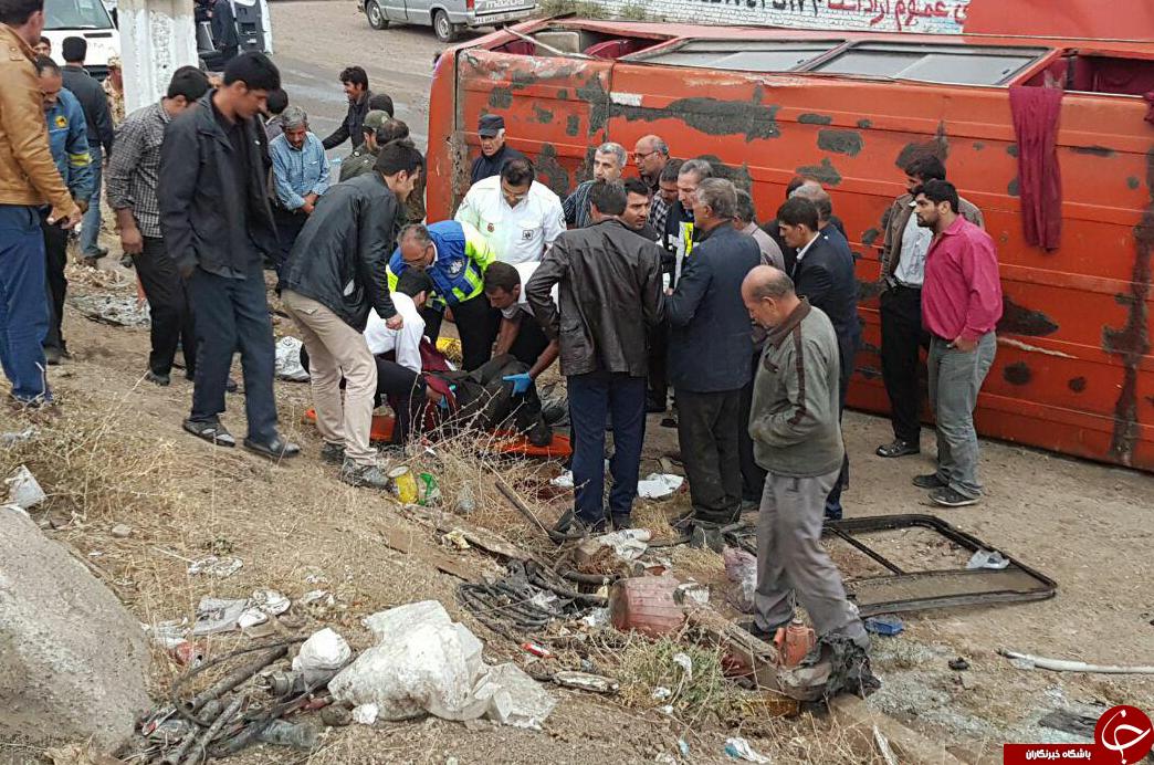 Image result for واژگونی مینی بوس در ساری