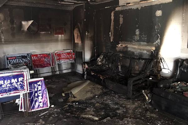 ترامپ: حمله به دفتر حزب جمهوریخواه در کارولینای شمالی کار حیواناتِ طرفدار کلینتون بود!