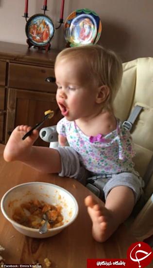 توانایی این بچه معلول در غذا خوردن مورد تشویق قرار گرفت +تصاویر