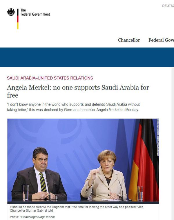 مرکل: هیچکس بدون رشوه از عربستان حمایت نمیکند