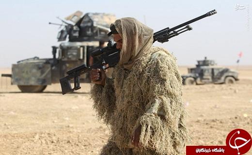 تصویری پوشش تک تیرانداز عراقی در عملیات موصل