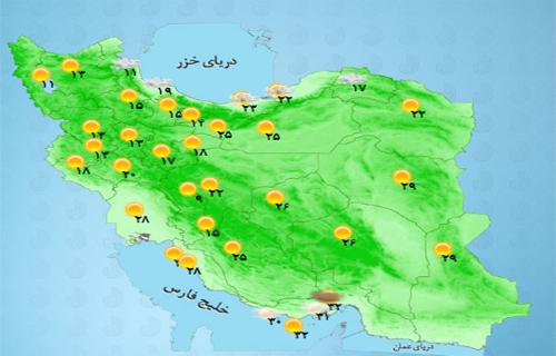 وضعیت آب و هوای استانهای کشور +جدول