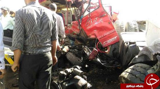 حادثه مرگبار برای سرویس معلمان آموزش و پروش/ 13 تن کشته و مجروح شدند/ راننده کامیون مقصر شناخته شد+تصاویر