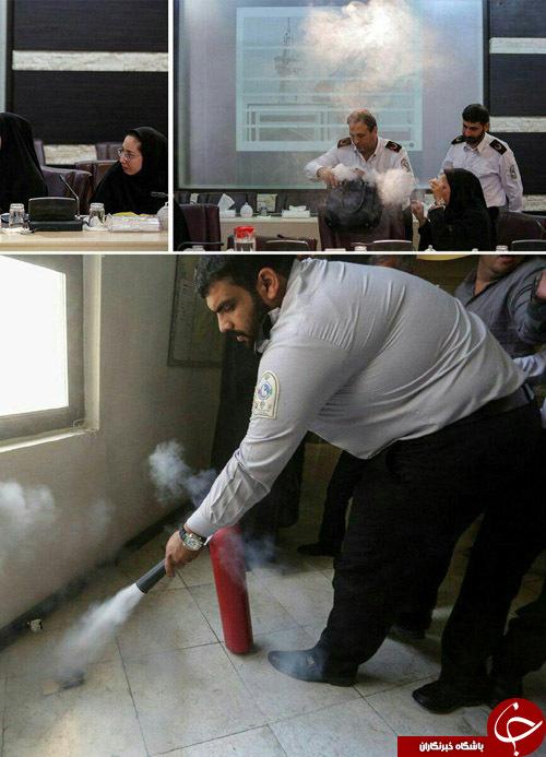 حریق در نشست خبری آتش نشانی+ تصویر