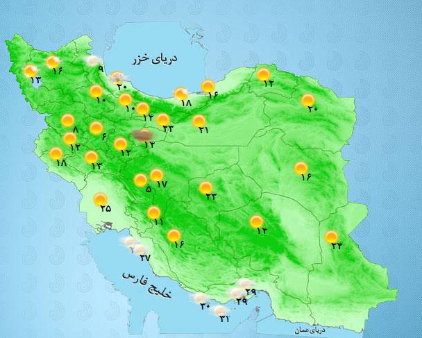 افت ۶ درجهای دمای استانهای شمالی +جدول