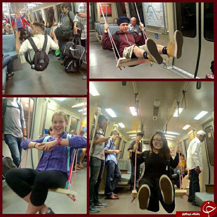 قرار دادن تاب در متروهای نیویورک جهت افزایش شادی مردم + تصاویر