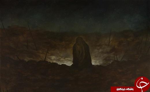 «آیا تو برادر منی؟»؛ نقاشی روحالامین از لحظه حضور زینب(س) در قتلگاه + تصویر