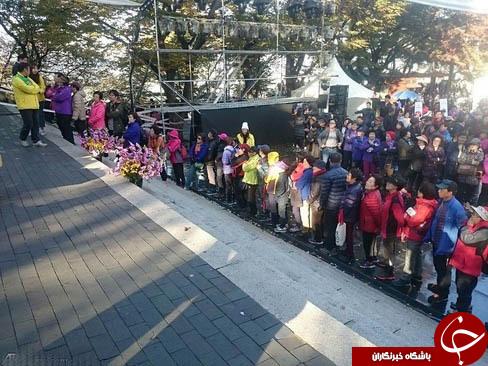 صف نذری در کره جنوبی +عکس