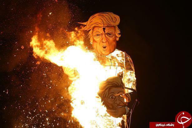 مجسمه ترامپ و کلینتون به آتش کشیده شد +تصاویر