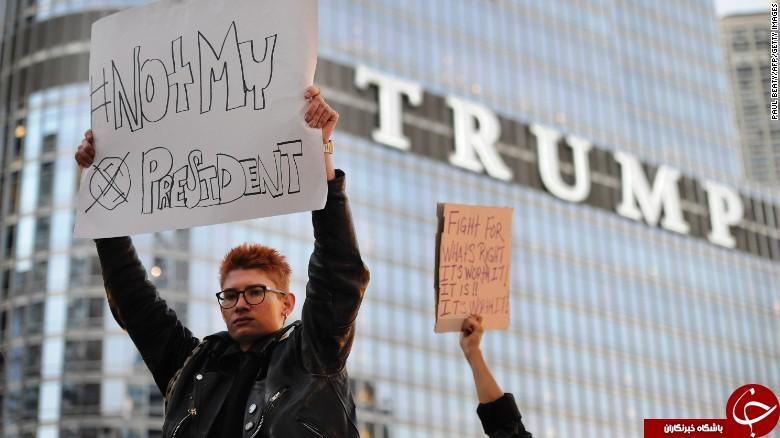 ادامه تظاهرات گسترده مردم آمریکا علیه ترامپ/تظاهرکنندگان ایالت کالیفرنیا خواستار استقلال+تصاویر