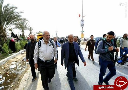عکس/ آقای وزیر با کوله پشتی در راه کربلا