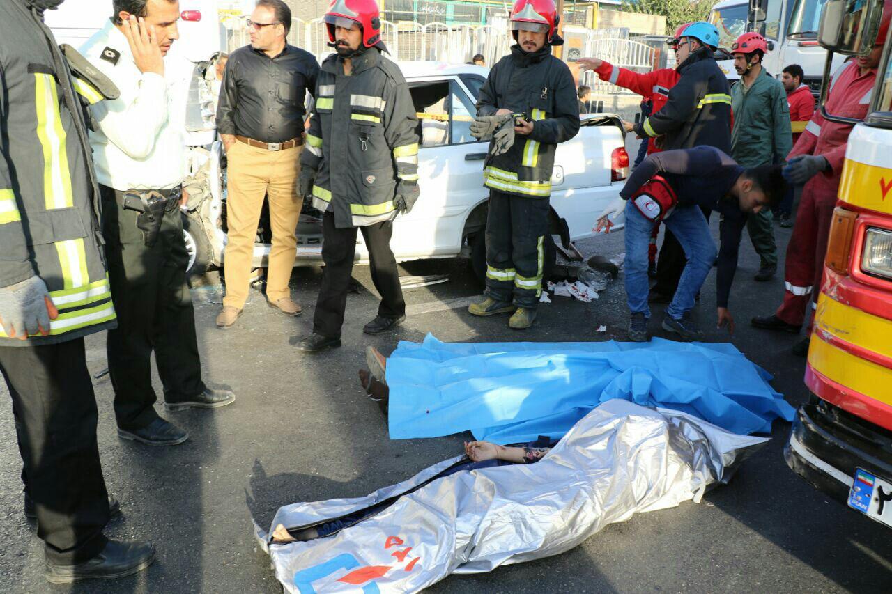 سلام بجنورد - دو کشته و دو زخمی در پی برخورد سواری پراید با اتوبوس+تصاویر