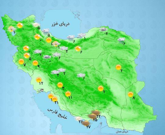 بارش باران و برف در  استان های حاشیه دریای خزر + جدول