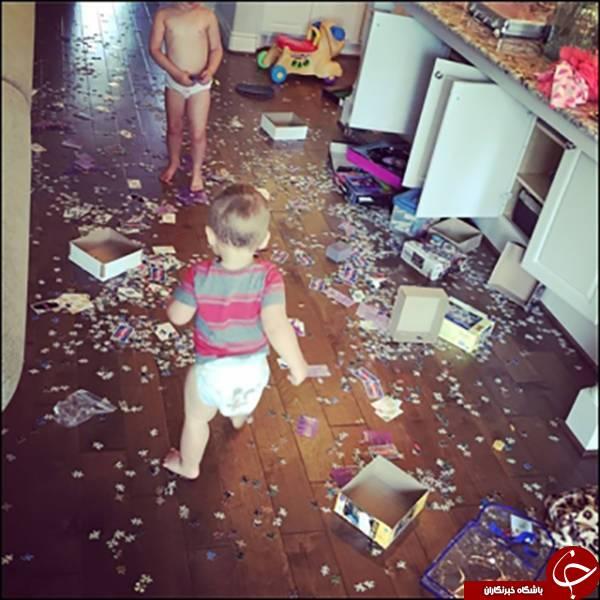 شاید در صورت تنها گذاشتن کودکانتان با این صحنه ها روبرو شوید+تصاویر