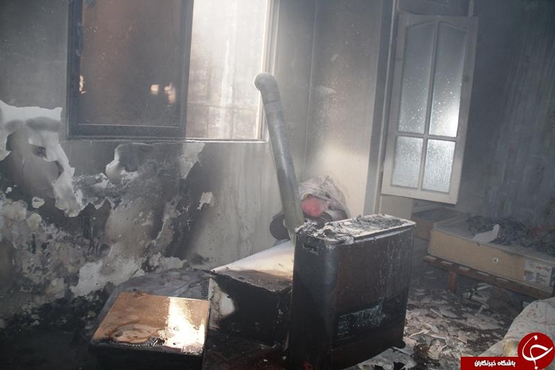 آتش سوزی در آپارتمانی بدون خسارت جانی +تصاویر